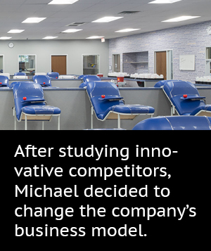 After studying innovative competitors, Michael decided to change the company's business model.