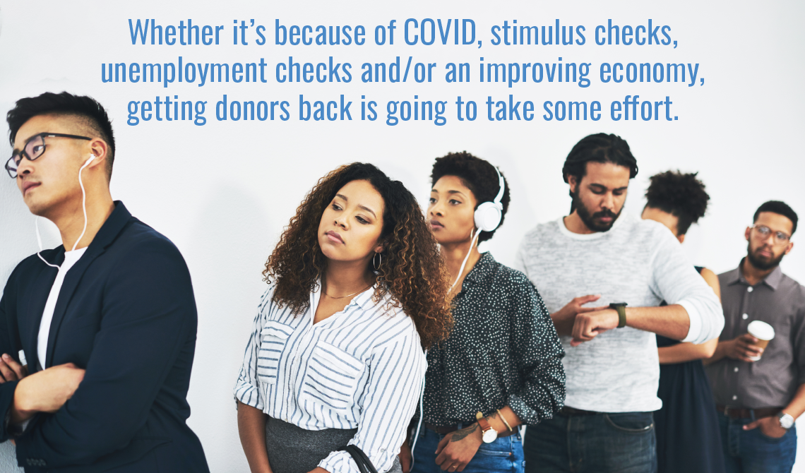 Whether it's because of COVID, stimulus checks, unemployment checks and/or an improving economy, getting donors back is going to take some effort.